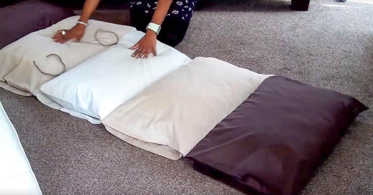 comment fabriquer un coussin de sol avec des oreillers. Black Bedroom Furniture Sets. Home Design Ideas