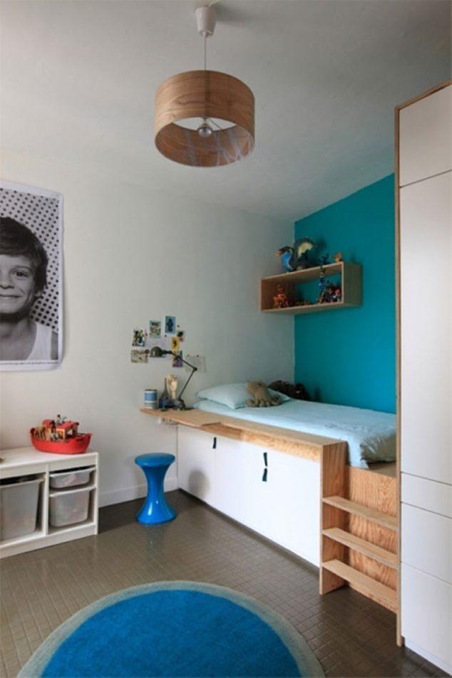 unique-drum-brown-pendant-lamp-with-cool-platform-bed-plus-blue-bedding-set-also-decorative-bed-side-table-634x952