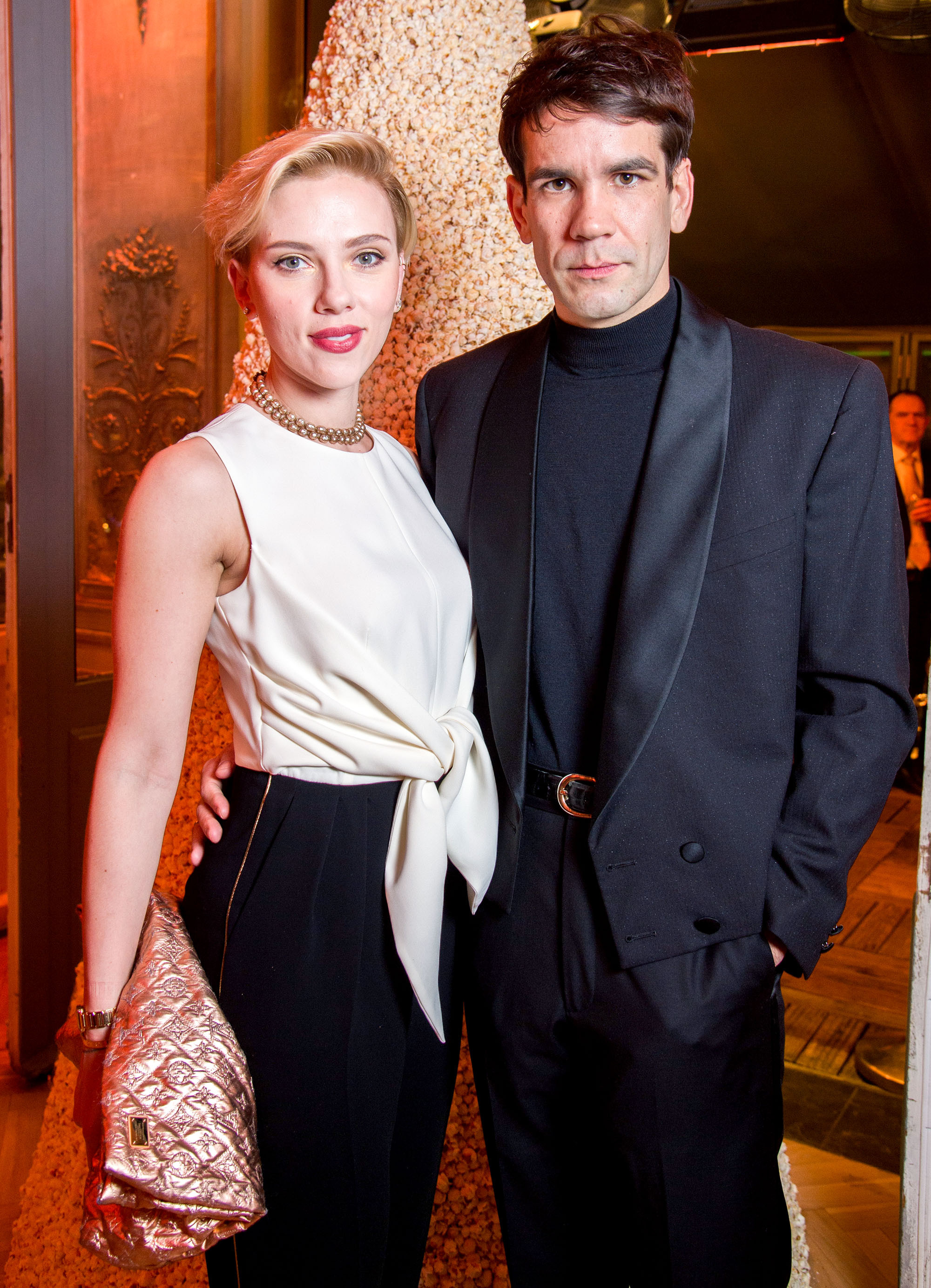 PARIS, FRANCE - DECEMBER 16:  Scarlett Johansson and Romain Dauriac attend the Yummy Pop Grand Opening Party at Theatre du Gymnase on December 16, 2016 in Paris, France.  (Photo by Pascal Le Segretain/Getty Images for Yummy Pop)