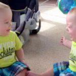 Cette maman filme ses jumeaux en train d'avoir une discussion. Adorables!