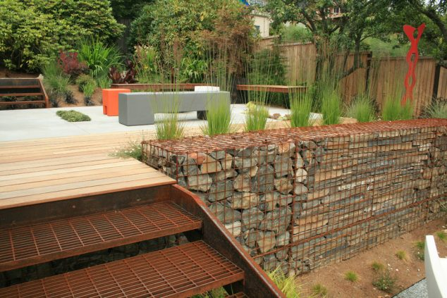 glass-rocks-for-landscaping-deck-industrial-with-contemporary-deck-gabion-wall-634x423