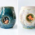 Ces 23 tasses brillantes ont de petits coins latéraux où vivent de minuscules sculptures d'animaux